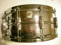 "Ludwig LM402K hammered alloy seamless snare drum 14 x 6 1/2""-Chicago- '83-'84 - small pene pattern"