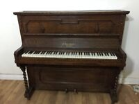 E Danemann London Upright Dark Wooden Piano Fully Working Cheap Beginners' Piano FREE LOCAL DELIVERY