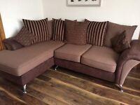 Corner sofa, chair & half moon footstool