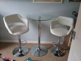 White bistro chairs glass round table as new