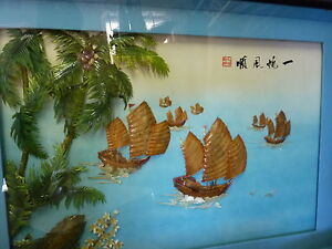 Chinese Shell picture with glass frame