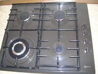 Neff gas hob,integrated gas cooker double oven with auto timer, electric extractor.