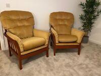 2 Mustard Yellow 90's Armchairs