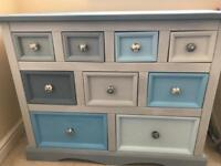 Set of 9 drawers sideboard in blues and greys
