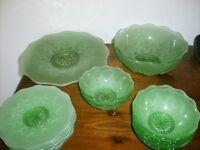 Vintage Star pattern green glass ware.