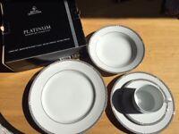 Royal Doulton PLATINUM dinner set / service – plates, bowls, tea cup NEW