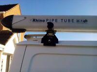 Rhino Roof Rack - 3 Bar System, Rear Roller & 3 metre Pipetube & key for Ford Transit Van