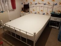 Bouble bed with mattress, white, metal frame