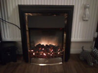 Dimplex cheriton CHT 20 electric flame effect fire in black with brass effect