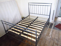 """Double Bed, 4'6"""" Grey Metal with Wooden curved slats, excellent condition. Mattress free if required"""