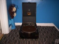 hmv wind up record player good condition box of needles supplied by harrods when new