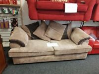 Brown fabric/pleather 3/4 seater sofa and chair