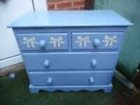 solid pine chest of drawers painted blue