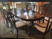 ROSEWOOD DINING TABLE AND 8 CHAIRS- very good condition