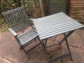Small wooden patio table & chair