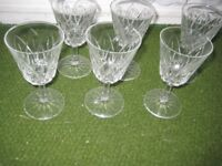 Six Cut Glass Wine Glasses for £3.00