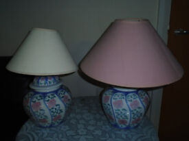 A PAIR of BLUE and PINK TABLE / LOUNGE / BEDROOM LAMPS, BOTH WORK PERFECTLY, £3 EACH