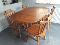 Drop leaf pine table with 4 chairs