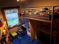 Metal high sleeper with desk, wardrobe and shelves