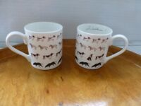 "Pair of ""Walkies"" china mugs unused"