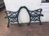 Antique garden bench ends
