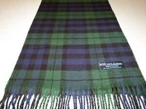 100-Cashmere-Scarf-Soft-Green-Blue-Black-Scotland-Wool-Check-Plaid-Wrap-K14-Men