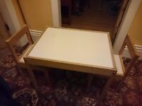 Ikea Latt Childrens Table with 2 chairs