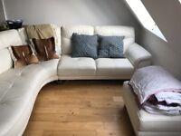 Leather white sofa