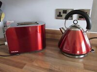 Red Morphy Richards Accents Kettle and Toaster