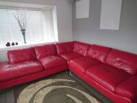 Large red leather settee