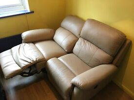 DFS Cream Leather Electric Recliner Sofas (2 Seater & Armchair) - RRP£2,237