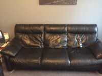 Black leather sofa, 3 seater, 2 seater & electric single seater