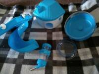 Blue hamster cage accessories