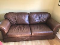 Beautiful Laura Ashley Brown Leather sofa