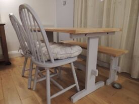 Shabby Chic Table, 2 Chairs and Bench