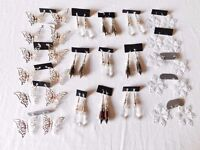 20 PAIRS OF LARGE EARRINGS ALL NEW BUTTERFLIES DROPS SNOWFLAKE