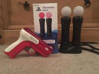 Ps4 move controllers With Charger/holder And Gun