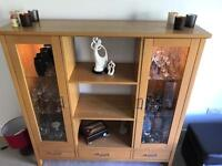 Solid Oak display cabinet for sale. Excellent condition