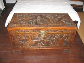 carved chinese chest in camphor wood no need for mothballs! really good quality