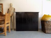 Black Painted Old Solid Pine Shelved Pantry School Linen Cupboard