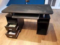 Computer Desk with Cupboard Drawers and Keyboard Tray Desktop PC Table Workstation (Black)