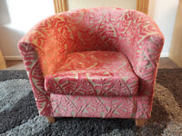 Red & Gold Tub Chair lovely & comfortable in very good condition.
