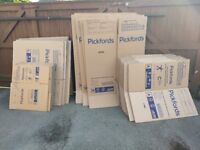 Over 50 home packing boxes (inc wardrobe boxes)