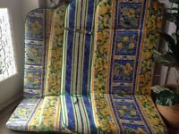 4 REVERSIBLE MEDITERRANEAN PRINT GARDEN RECLINER CHAIR CUSHION PADS 2 NEW 2 USED
