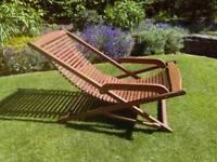 Slatted hardwood deckchair