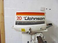 Johnson 20hp outboard for RIB, fishing boat river boat long shaft tiller control. No spark.