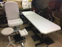 Beauticians chair with foot rest, plus stool and treatment bed