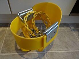 Yellow bucket swing with coated chain