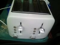 toaster four slice in white and also have a black and chrome petal bin for sale