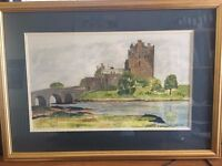 Original Watercolour, signed and of Eilean Donan Castle in Ross & Cromarty: Artist Stuart Liddle